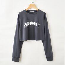 Crop T-Shirt mit Mond Grafik