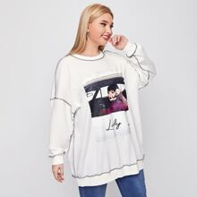 Plus Figure and Letter Graphic Contrast Stitch Detail Pullover