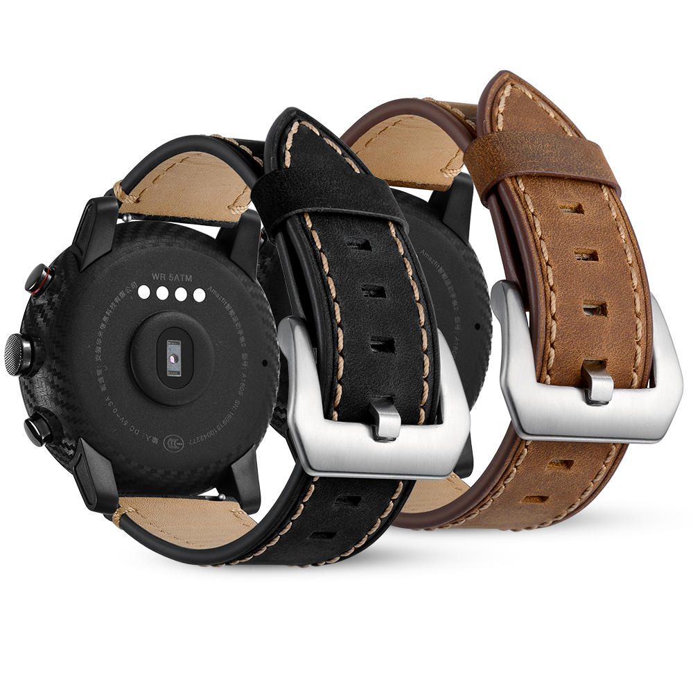 22mm Genuine Leather Watch Strap Watch Band for Huami Amazfit 2