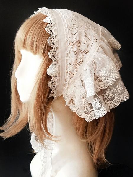 Milanoo Sweet Lolita Headdress Infanta Sugar And Matcha Lace Ruffle White Lolita Headband