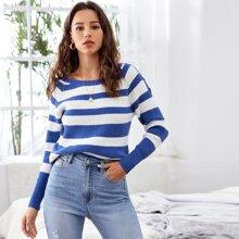 Raglan Sleeve Striped Rib-knit Sweater