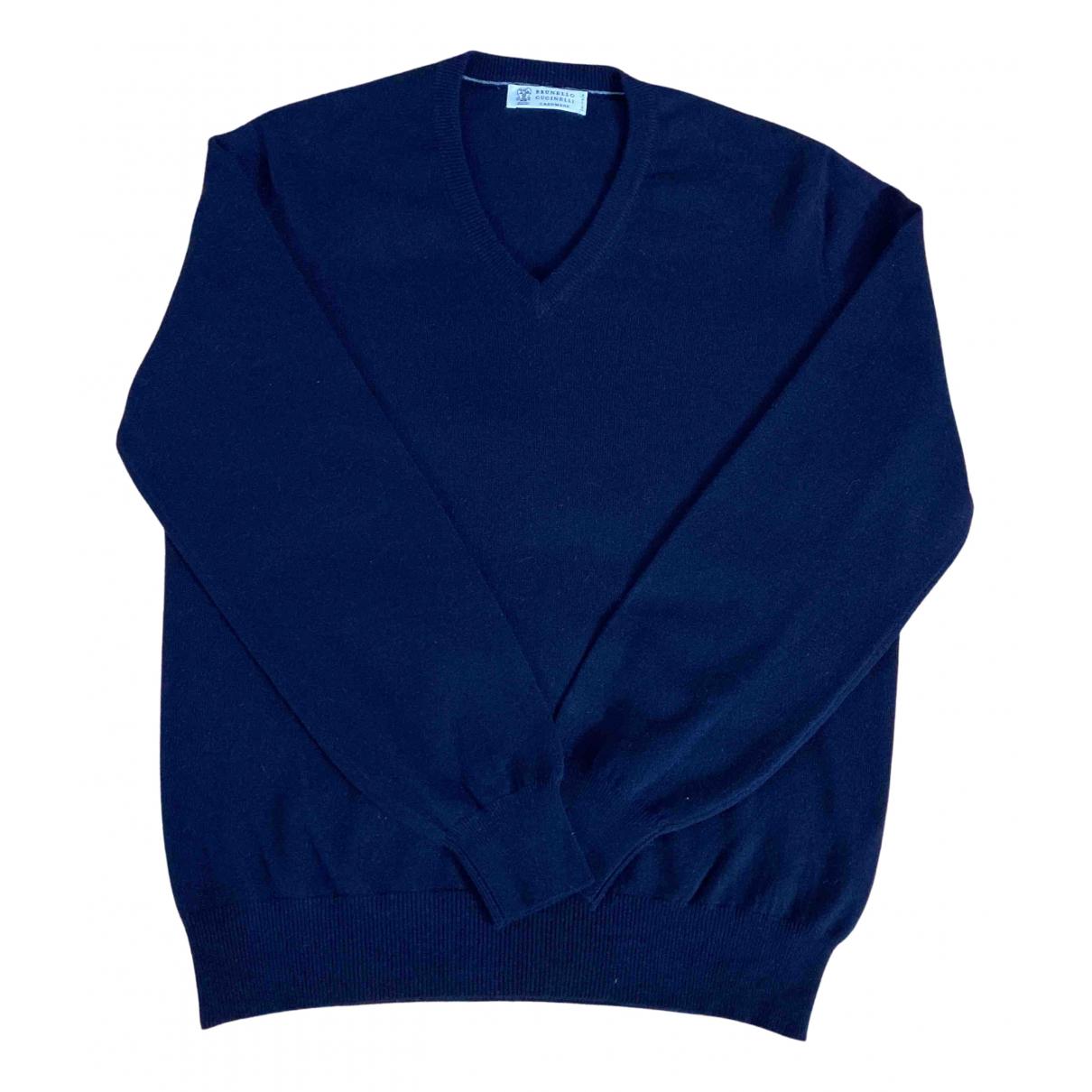 Brunello Cucinelli \N Pullover.Westen.Sweatshirts  in  Marine Kaschmir