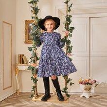 Girls Flounce Sleeve Floral Dress