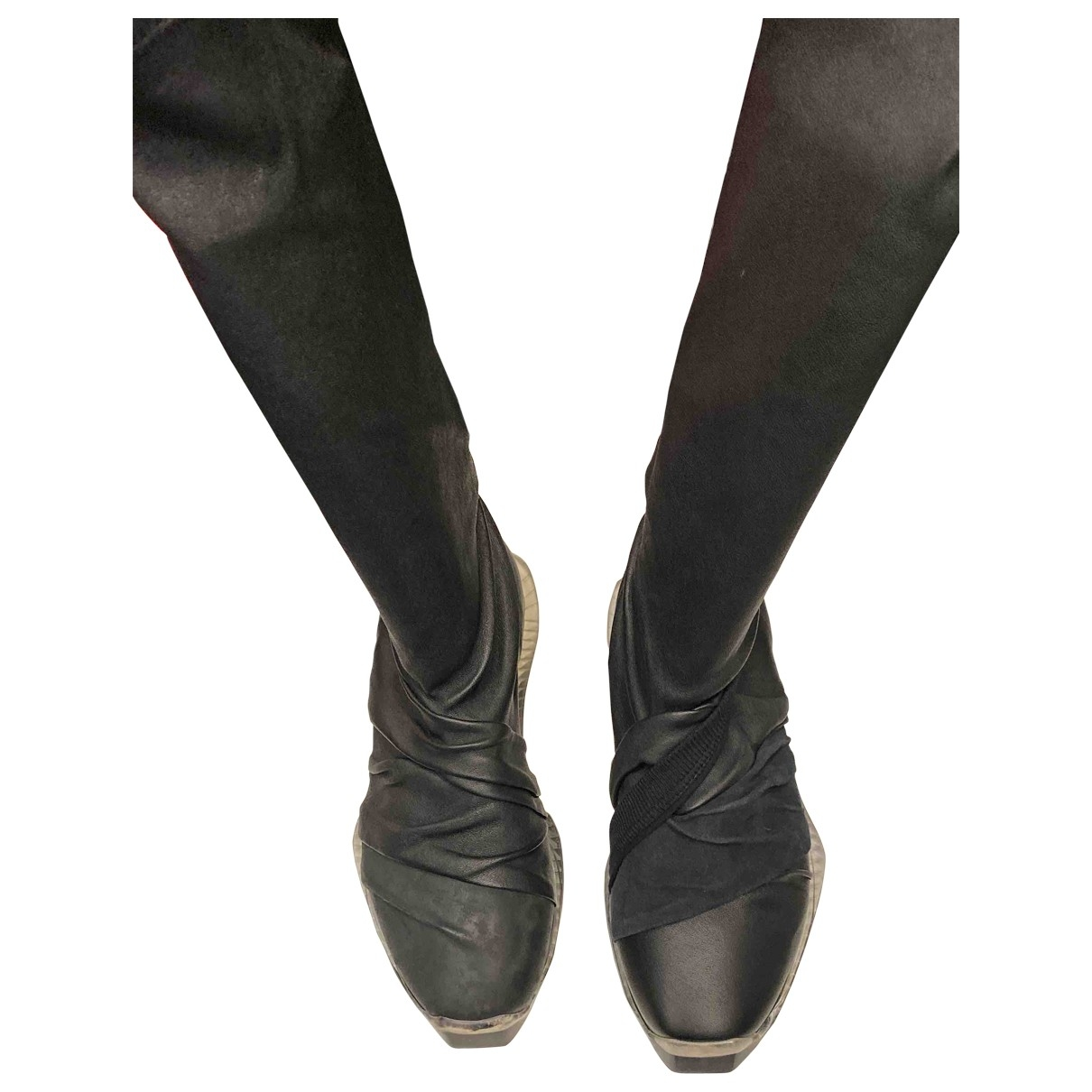 Rick Owens \N Black Leather Boots for Women 38 EU