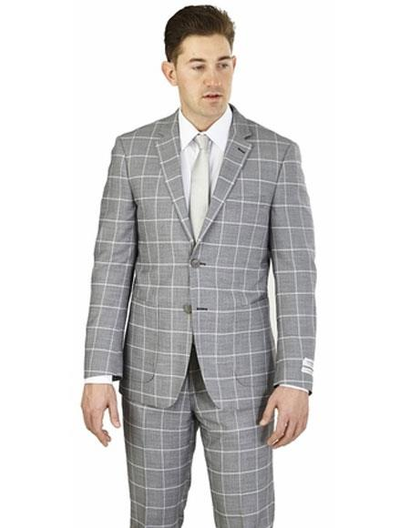 Men's Lorenzo Bruno Gray 2 Buttons Plaid Pattern Modern Fit Suit