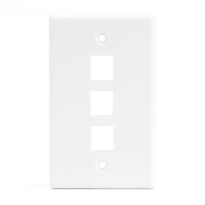 Plaque murale Keystone 3 ports pour RJ45 RJ11 RJ12 RCA type F jack - blanc - PrimeCables® - 1/paquet