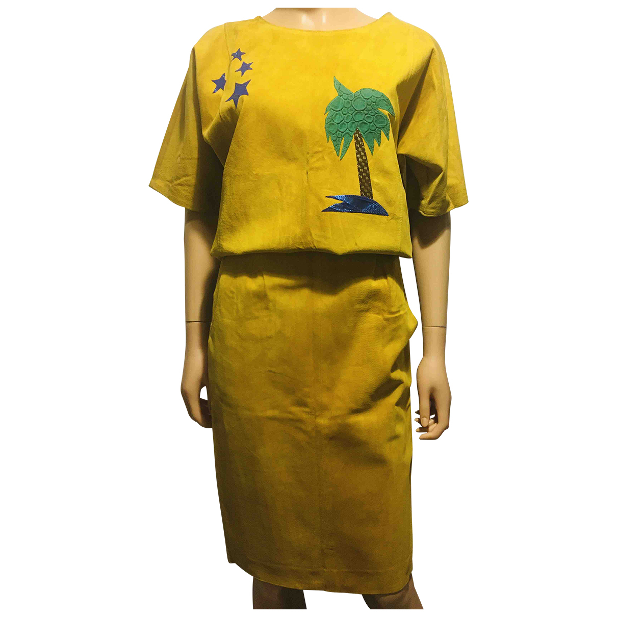 Non Signé / Unsigned Hippie Chic Yellow Suede jumpsuit for Women 36 FR