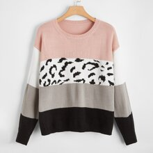 Plus Color Block Drop Shoulder Sweater