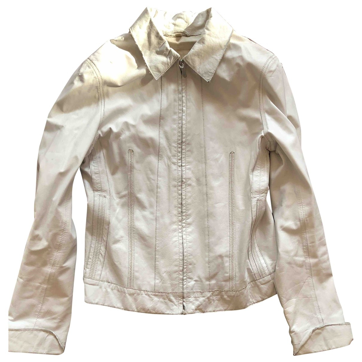 Non Signé / Unsigned \N White Leather Leather jacket for Women 12 US