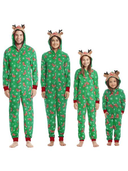 Milanoo Family Christmas Pajamas Christmas Pattern Red Family Sleepwear Jumpsuit