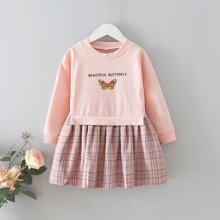 Vestido sudadera de tartan con mariposa