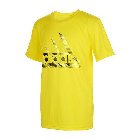 adidas Little Boys Round Neck Short Sleeve Graphic T-Shirt, 5 , Yellow