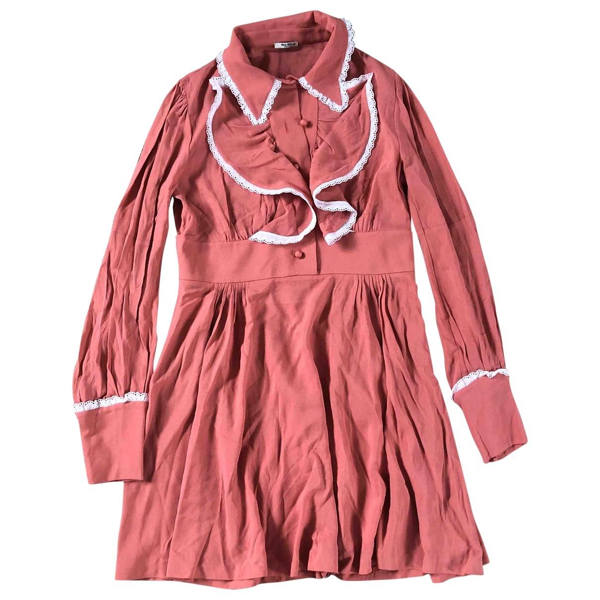 Miu Miu \N Kleid in  Rosa Viskose