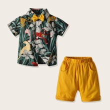 Toddler Boys Leopard Print Bow Tie Shirt With Shorts