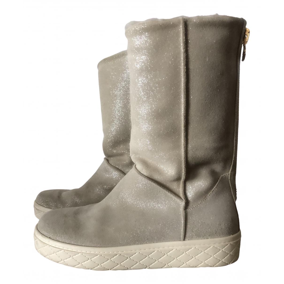 Moncler \N Stiefel in  Grau Veloursleder