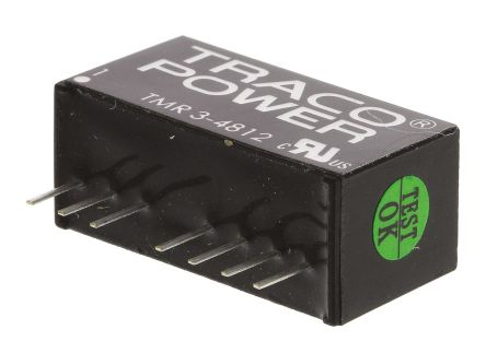 TRACOPOWER TMR 3 3W Isolated DC-DC Converter Through Hole, Voltage in 36 → 75 V dc, Voltage out 12V dc
