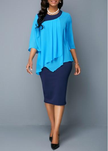 Rosewe Women Dress Navy Blue Chiffon Overlay Sheath - M
