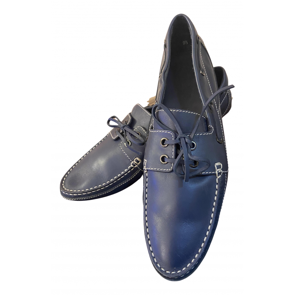 Tod's N Navy Leather Flats for Men 9.5 UK