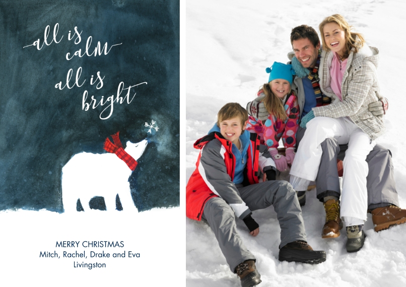 Christmas Photo Cards Flat Glossy Photo Paper Cards with Envelopes, 5x7, Card & Stationery -All Is Calm & Bright Polar Bear Photo Card by Hallmark
