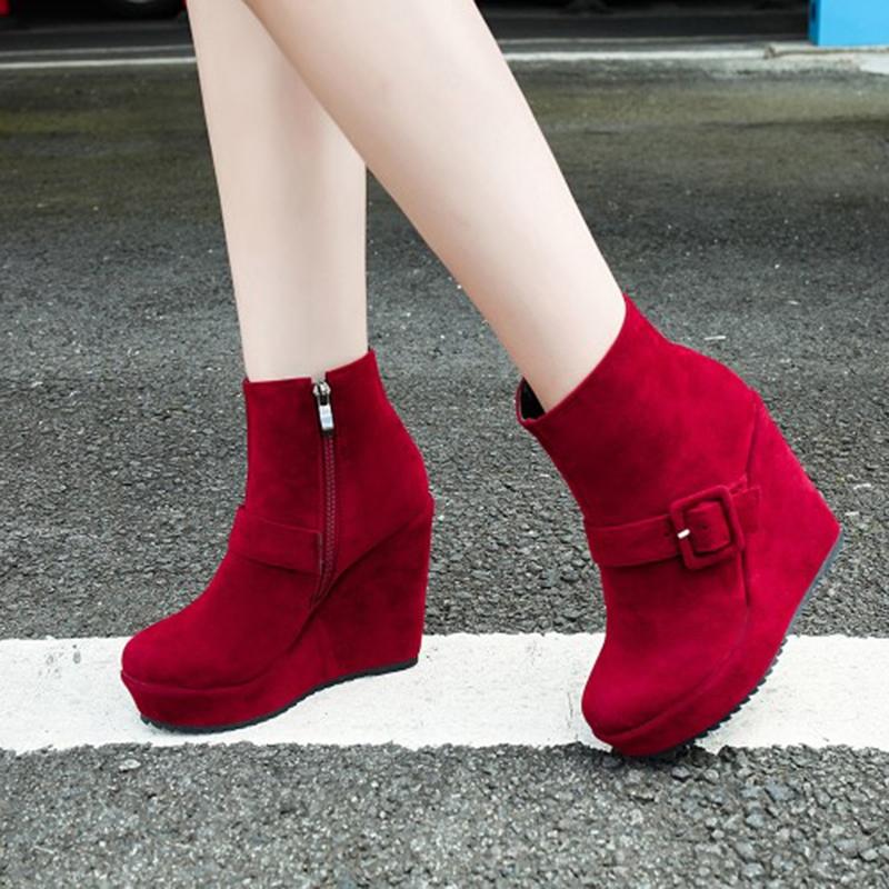 Ericdress Buckle Platform Women's Wedge Heel Ankle Boots