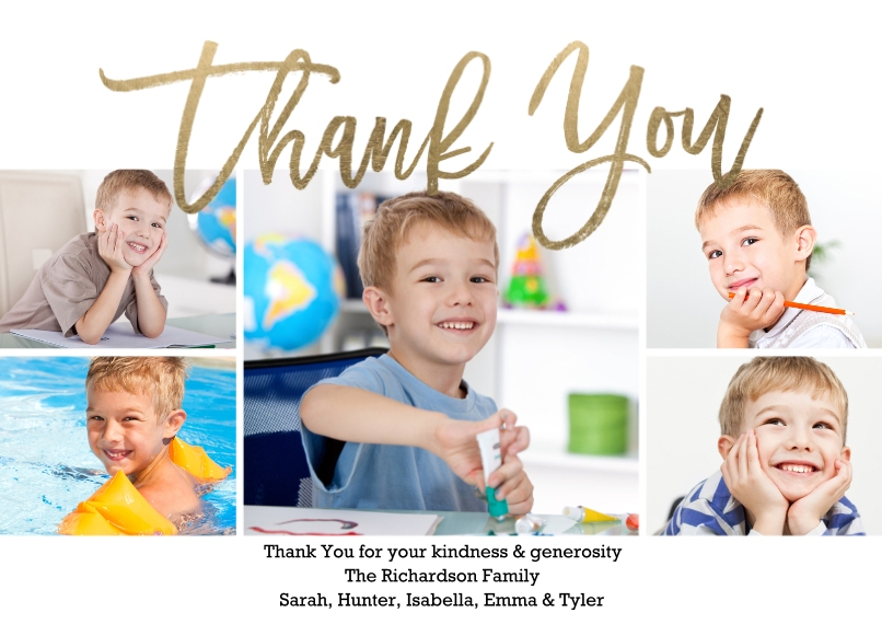 Thank You Cards Flat Glossy Photo Paper Cards with Envelopes, 5x7, Card & Stationery -Thank You Modern Collage