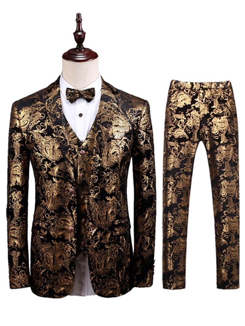 Ericdress Fashion Pocket Color Block Mens Dress Suit