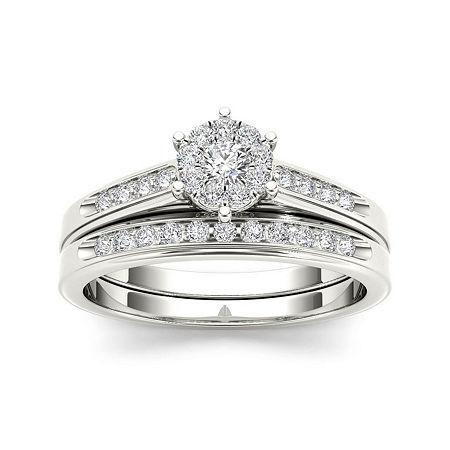 1/2 CT. T.W. Diamond 10K White Gold Bridal Set Ring, 6 1/2 , No Color Family