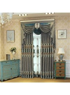 Luxurious and European Style Embroidered Floral 2 Panels Blackout Custom Curtains