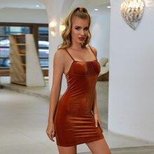 Double Crazy Ruched Bust Velvet Dress