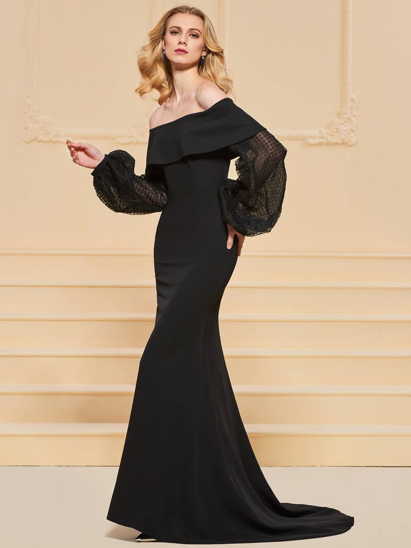 Ericdress Off The Shoulder Long Sleeve Black Mermaid Evening Dress