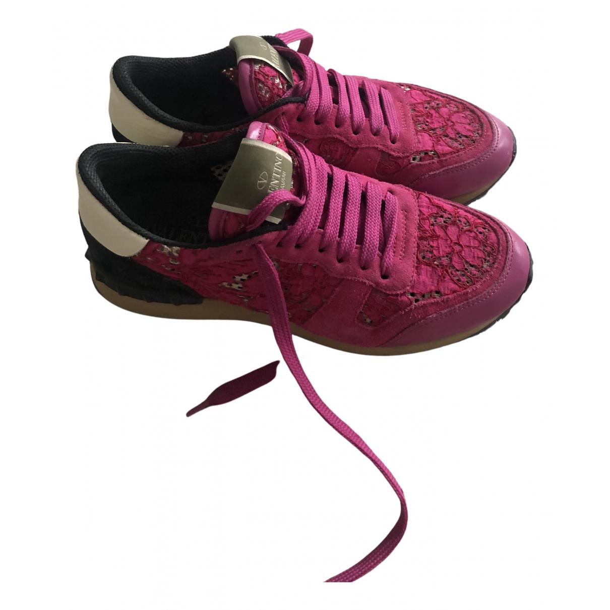 Valentino Garavani - Baskets Rockrunner pour femme en toile - rose