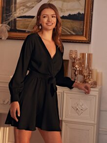 Solid Belted Knot Wrap A-line Dress