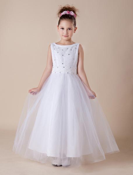 Milanoo Vestidos de primera comunion para niñas de saten con escote redondo