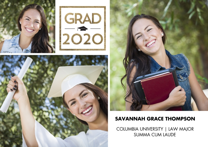 2020 Graduation Announcements Flat Matte Photo Paper Cards with Envelopes, 5x7, Card & Stationery -2020 Grad Gold Square by Tumbalina