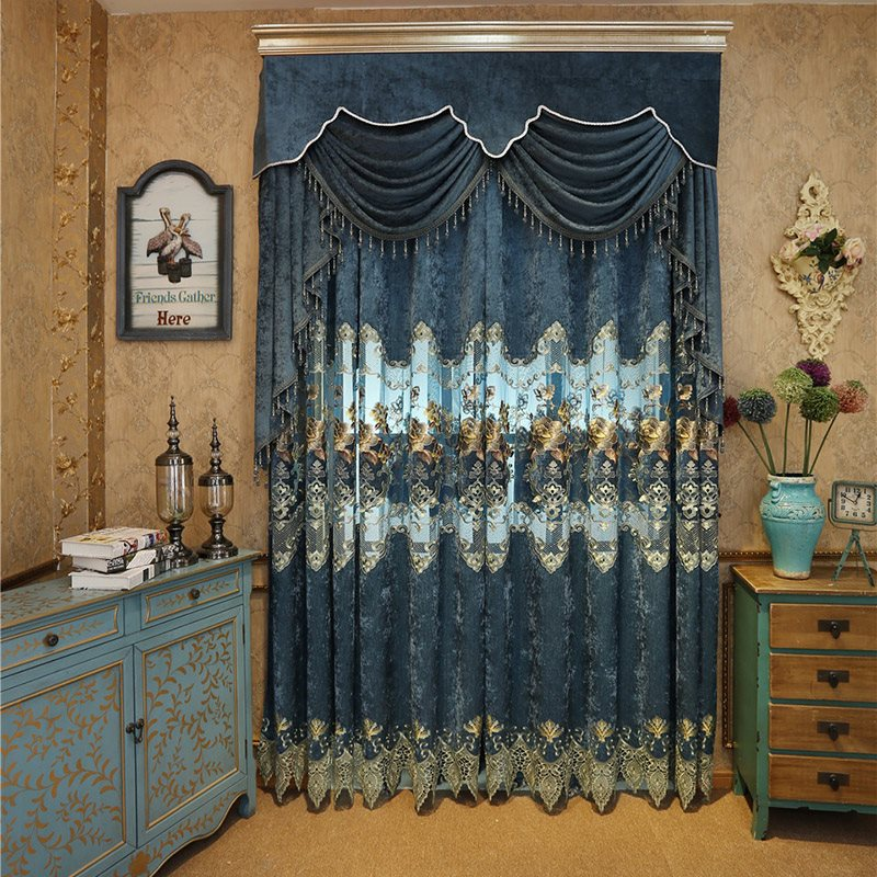 Elegant Embroidered Floral Hollowed-out Designing 2 Panels Custom Curtains