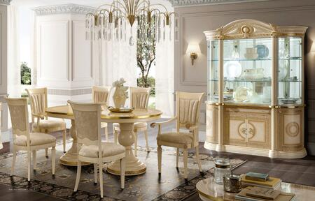 AIDATABLEIVORY2AC4SCCC 8-Piece Dining Room Set with Dining Table  2 Arm Chairs  4 Side Chairs and China