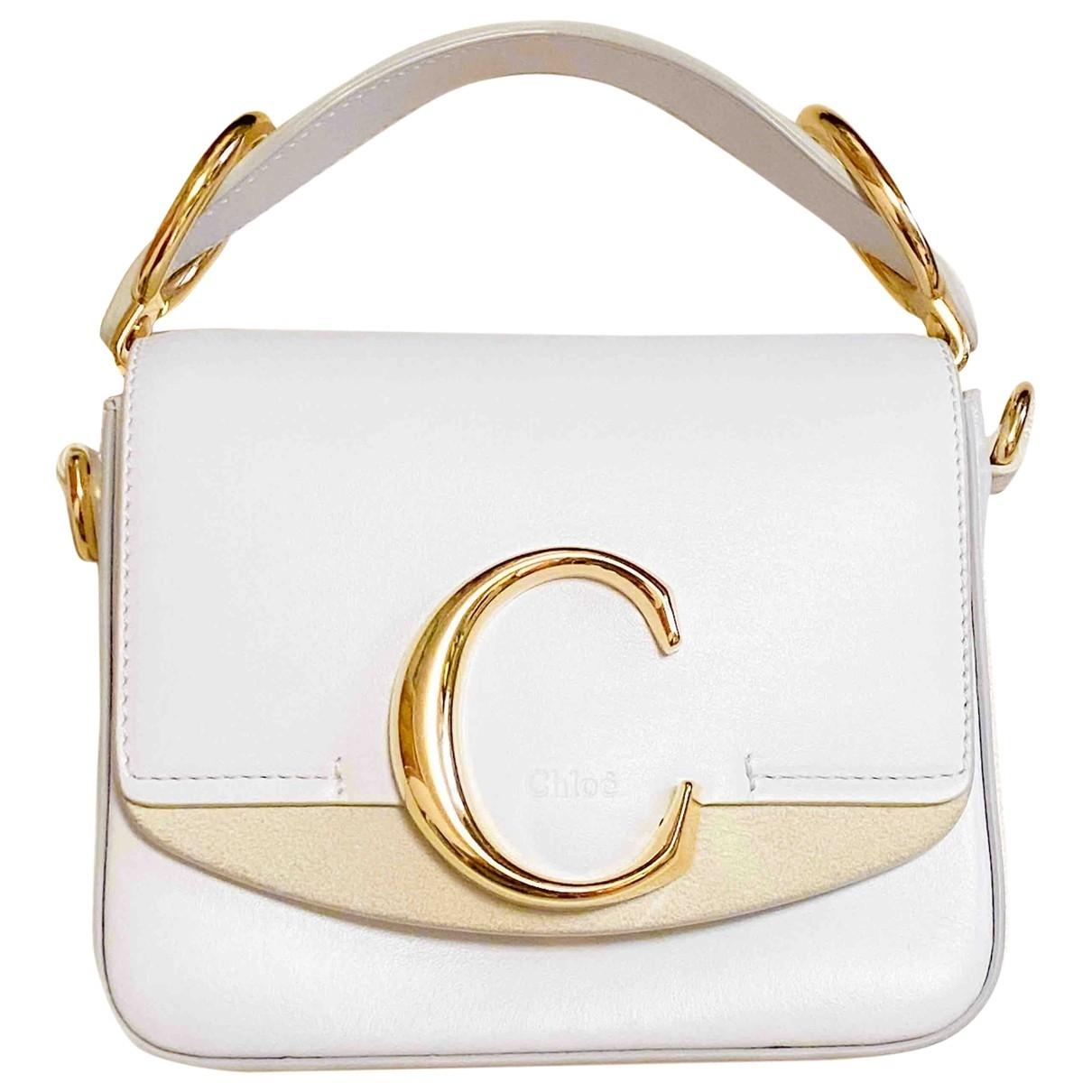 Chloe - Sac a main C pour femme en cuir - blanc