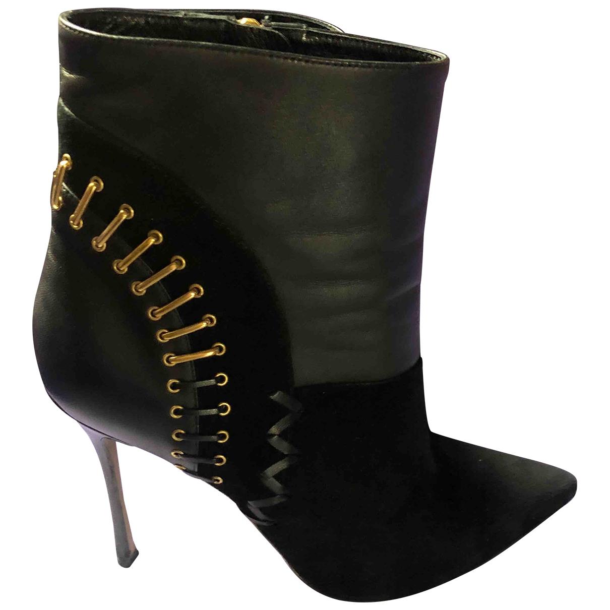 Sergio Rossi - Boots   pour femme en suede - noir