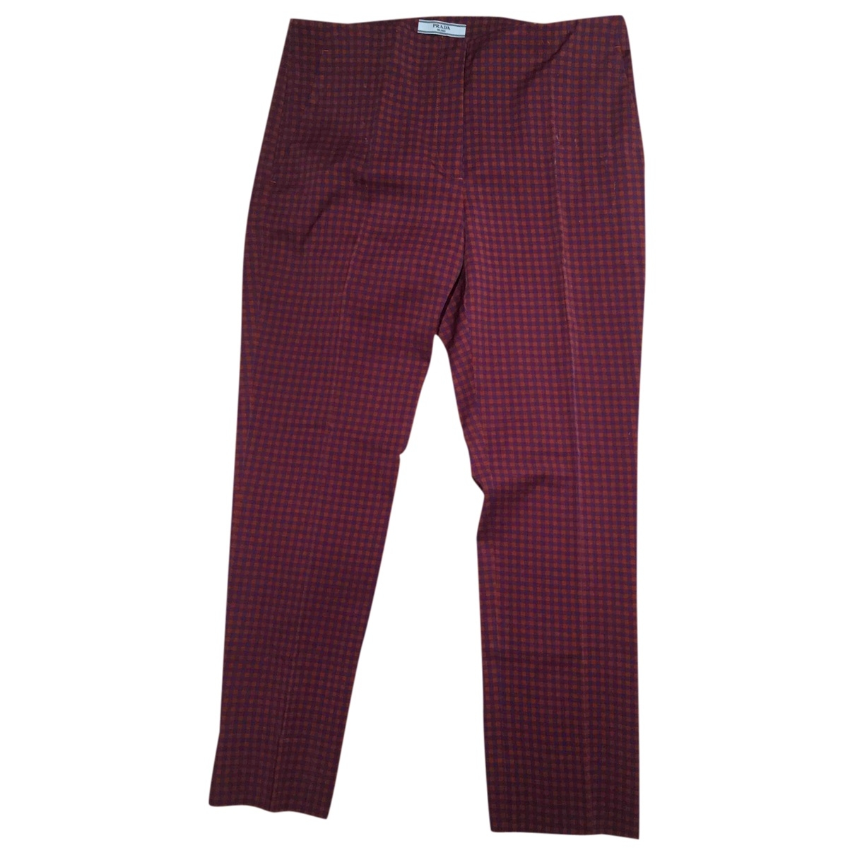 Prada \N Burgundy Cotton Trousers for Women 42 IT