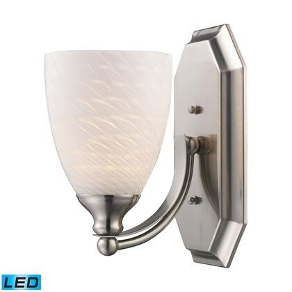 570-1N-WS-LED 1 Light Vanity in Satin Nickel and White Swirl Glass -