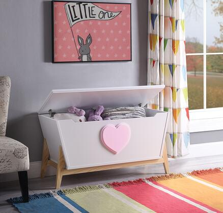BM194379 Tapered Wooden Youth Chest with Angled Legs Support and Heart Sign  White and