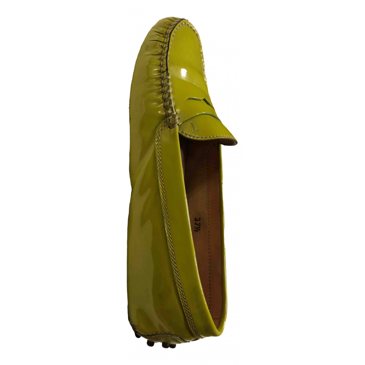 Tod's Gommino Green Patent leather Flats for Women 37.5 IT