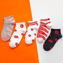 5 Paare Socken mit Mund Muster