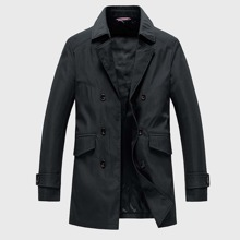 Guys Lapel Collar Double Breasted Trench Coat