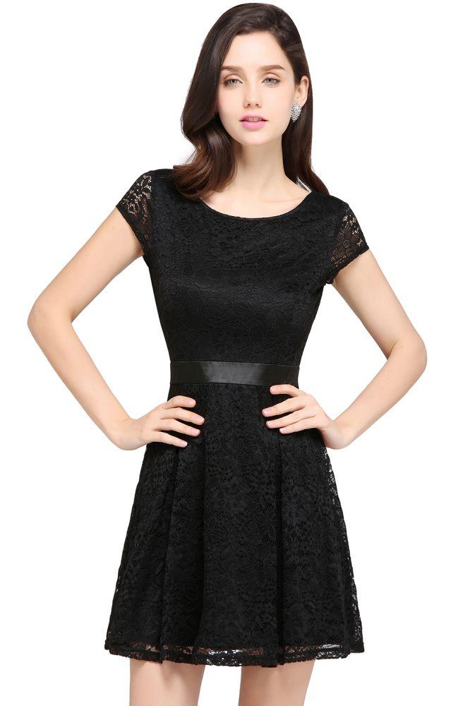 ARMANI | A-ligne Scoop Black Lace robe de bal bon marche avec ceinture