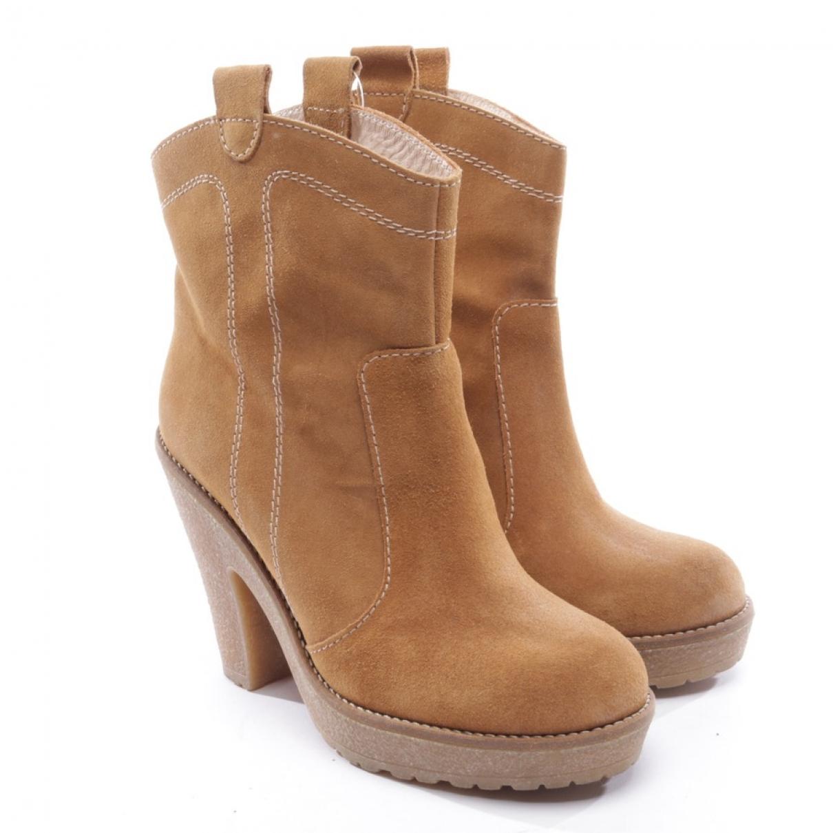 Ganni - Boots   pour femme en suede - marron