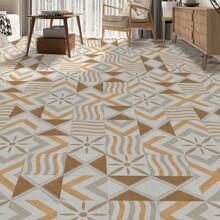 4 Stuecke Teppich mit geometrischem Muster