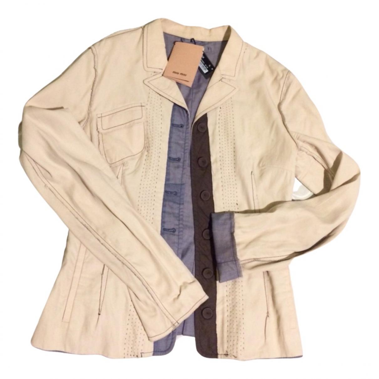 Miu Miu - Veste   pour femme en coton - beige