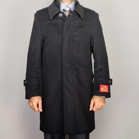 Mens Black Wool/ Cashmere Blend Modern Coat