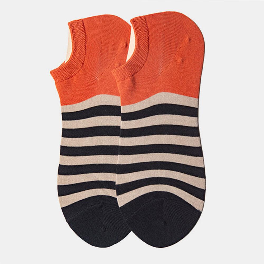 Socks Men's Tide Socks Stripes Shallow Mouth Cotton Sweat-Absorbent Sports Street Tide Socks Four Seasons